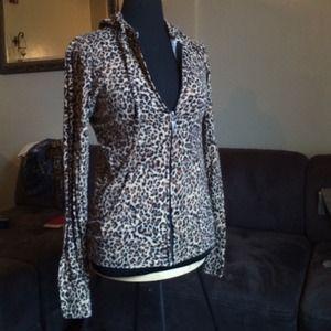 Sweaters - Leopard Print Zip Up Hoodie