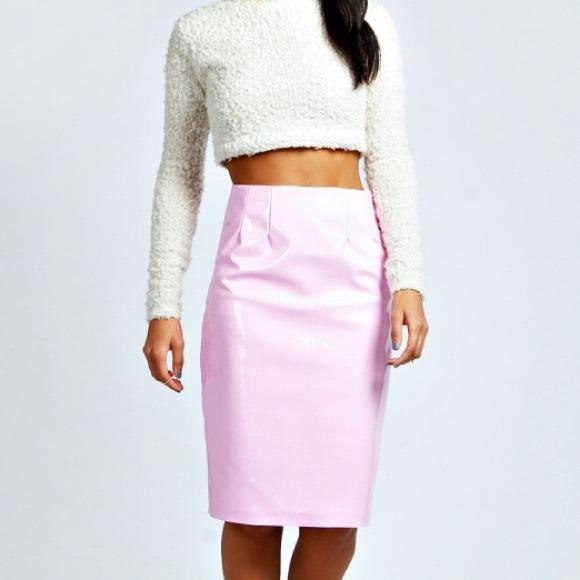 50% off ASOS Dresses & Skirts - 🌸 Patent Leather Pink PVC Midi ...
