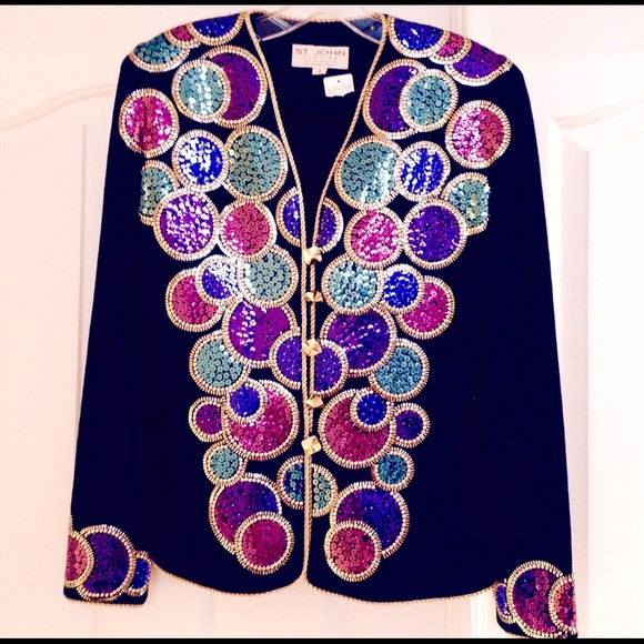 St. John Evening by Marie Gray Jackets & Blazers - St. John Evening Jacket w/ Multi-Colored Sequins