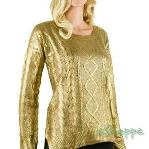 Sweaters - Gold Tone Cable Knit Pullover