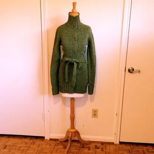 Military Green Belted Wool Cardigan