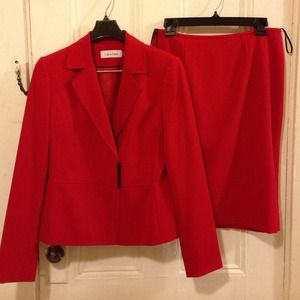 NWOT Bright red skirt suit