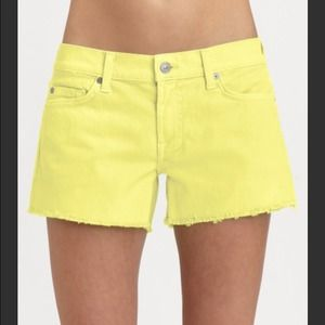7 for all mankind yellow cutoff denim shorts