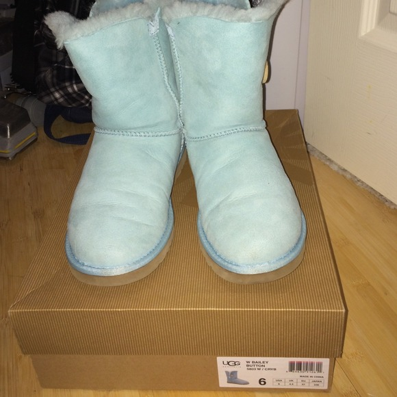 Baby blue Bailey Button UGGs