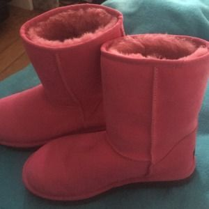 UGG Shoes - Bright pink uggs black bottom!