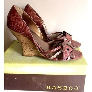 Bamboo Brown Faux Snakeskin Wedge Sandals