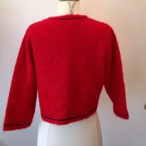 Vintage Sweaters - Vintage red mohair sweater jacket