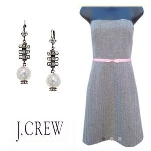 J. Crew Tube Fitted Pencil Wool Dress w/pink Belt