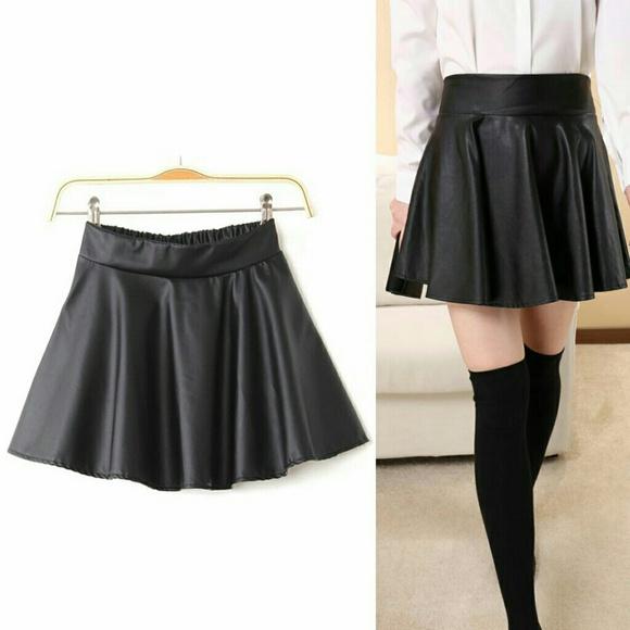 c055eeff51 Skirts | Black Faux Leather Mini Skater Skirt | Poshmark