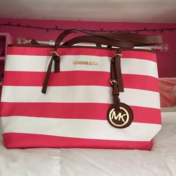58% off Michael Kors Handbags - 🎉LOWEST PRICE🎉Pink/White Stripe ...