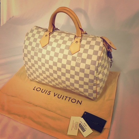 f9daa186e65 LV Damier Azur Speedy 30 Top Handle Bag Satchel