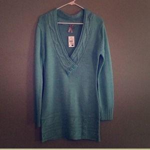 Metallic blue tunic sweater dress L