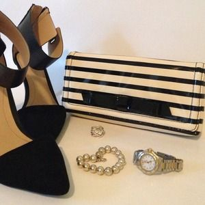 🎀Kate Spade ||  stripe clutch with bow🎀