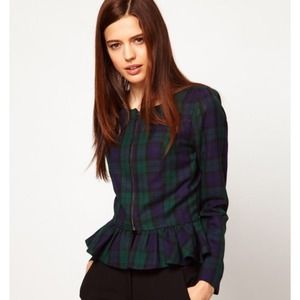 ASOS PLAID PEPLUM FRILL ZIPPER JACKET | size 4