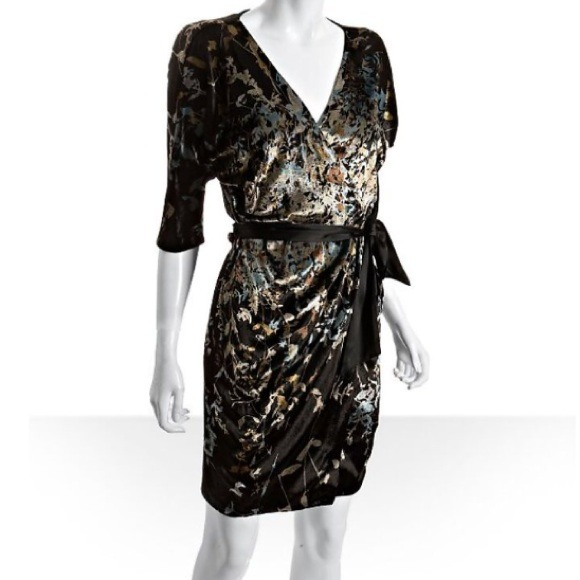 128055ab2a Diane von Furstenberg Dresses | Dvf Grano Printed Velvet Wrap Dress ...