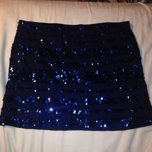 Navy Blue Express Sequin Skirt