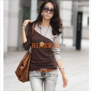 Finejo Tops - Cute brown & gray shirt