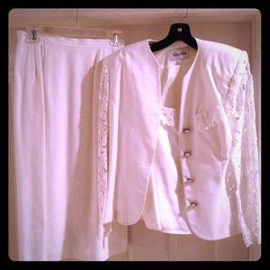 3pc White Suit W/ Detailed Lace