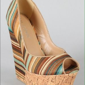 Multi colored cork wedges