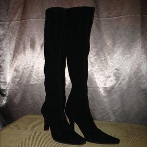 Stuart Weitzman stretch sued black boot