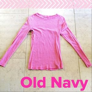 Old Navy Tops - Old Navy Pink & White Stripe Long Sleeve Top