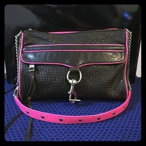 Rebecca Minkoff Neon Pink Black Crossbody Bag