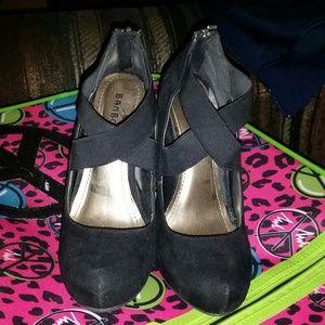 Black swade heels