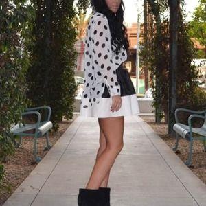 ASOS Two-Tone Leather Skater Skirt