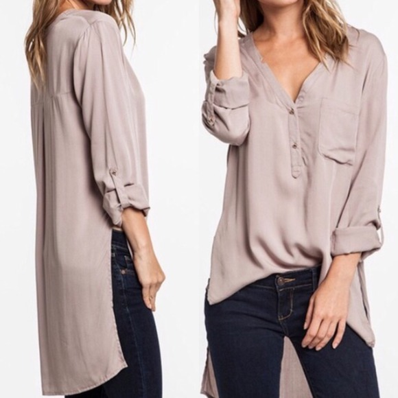 2925f683310ee ... Long sleeve tunic top - TAUPE. M 54928120bb27a4039d03be19