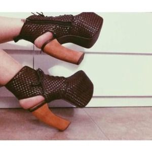 Jeffrey Campbell Shoes - Jeffrey Campbell woven leather Lana platform heels