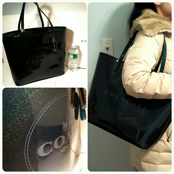 fa7f9bd37d2 New Coach glitter black patent leather large tote NWT