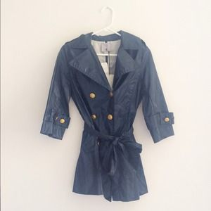 Aryn K Jackets & Blazers - Aryn K Navy Blue Trench Coat with Gold Buttons