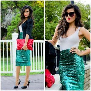 Asos green sequin pencil skirt – Fashion clothes in USA photo blog