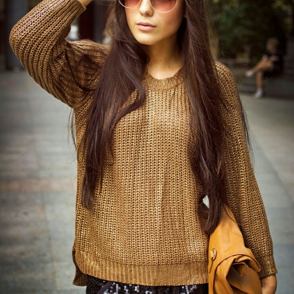 64% off Zara Sweaters - ZARA brown and gold thick knit sweater ...