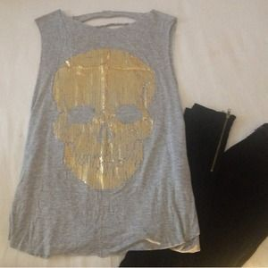 New Gold Skull Shredded Tank