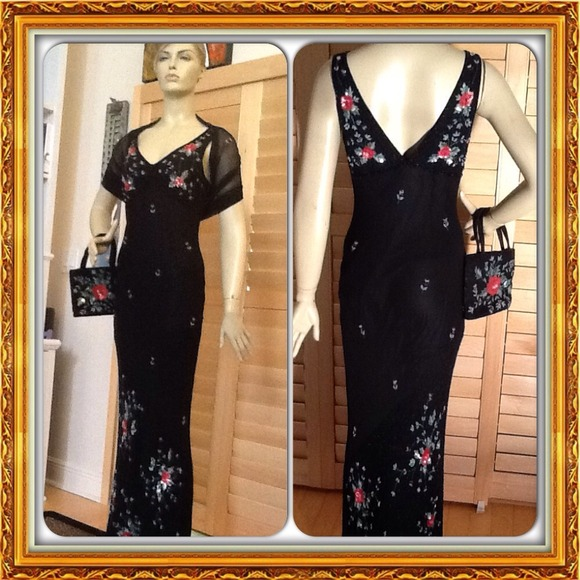 Sue Wong Dresses | Host Pick Black Evening Dress With Red Flowers ...