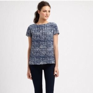 HP! Joie silk caviar short sleeve navy blue blouse