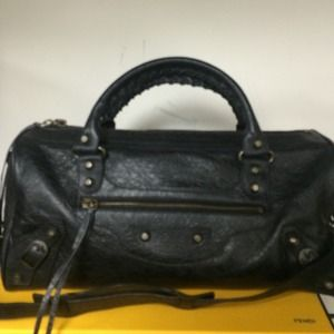 Balenciaga city twiggy bag black arena leather