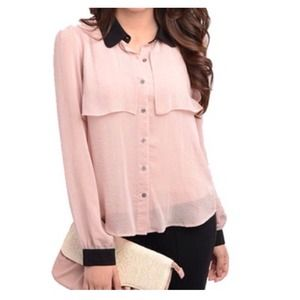 Dusky Rose & Black Long Sleeved Button-Down Shirt