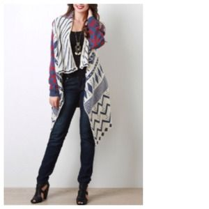 Jackets & Blazers - Blue Red Grey White Aztec Long Cardigan