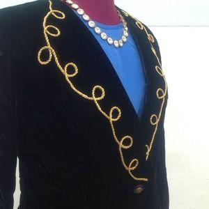 Vintage Jackets & Coats - ⭐️Vintage black/gold velvet jacket