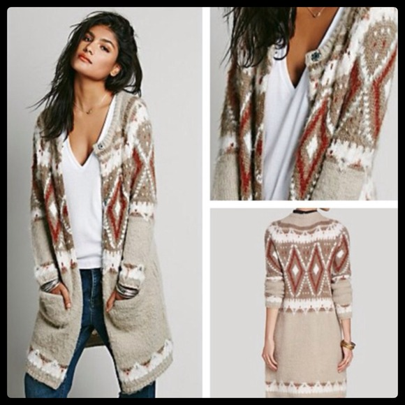 47% off Free People Sweaters - Fair Isle Cardigan Tunic Sweater ...