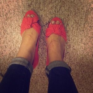 Coral suede wedges size 8 never worn