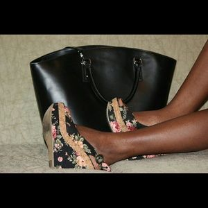 Shoe Dazzle Shoes - Floral wedges