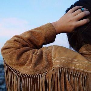 Leather suede fringe western jacket