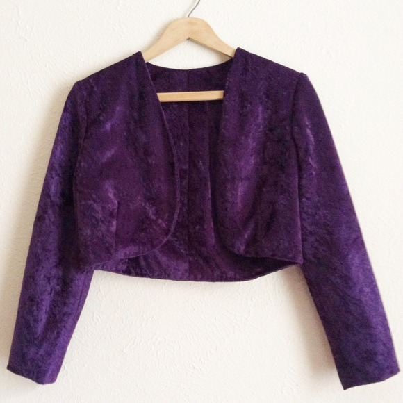 Independent Designer Jackets & Blazers - Purple Velvet Bolero Cropped Jacket ⭐️ NWOT🇺🇸