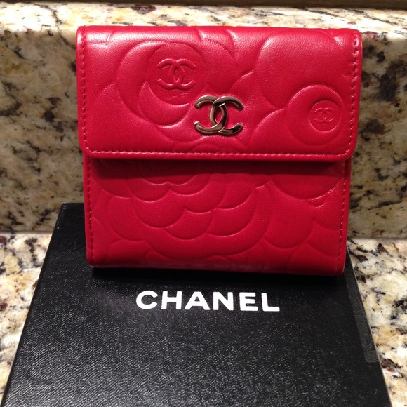 53aa28f8d724 CHANEL Bags | Camellia Embossed Red Leather Wallet | Poshmark