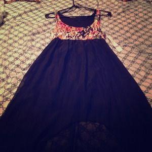Dresses & Skirts - Lace leopard print hi-lo dress