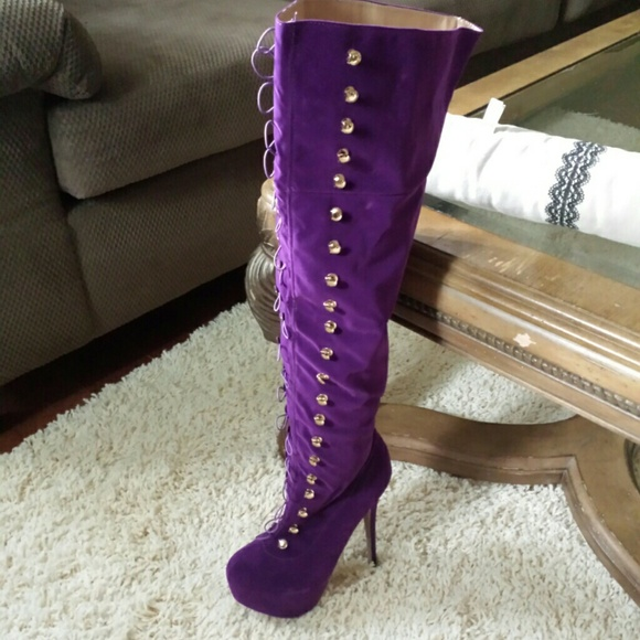 ♡♡SOLD♡♡ on ebay Purple thigh high boots 9 from Lisha's closet ...