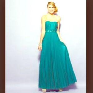 Jodi Kristopher Strapless Beaded 2Tone Dress